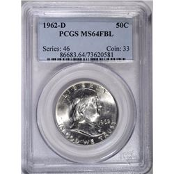 1962-D FRANKLIN HALF DOLLAR, PCGS MS-64 FBL