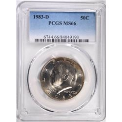 1983-D KENNEDY HALF DOLLAR, PCGS MS-66