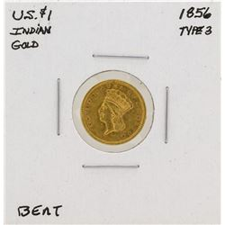 1856 $1 Indian Head Gold Coin Type 3 - Bent
