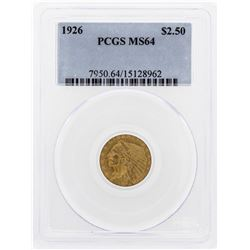 1926 $2 1/2 Indian Head Quarter Eagle Gold Coin PCGS MS64