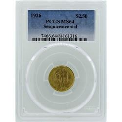 1926 $2 1/2 Sesquicentennial Quarter Eagle Commemorative Gold Coin PCGS MS64