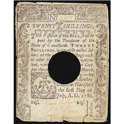 July 5, 1780 Connecticut Twenty Shillings Colonial Currency Note