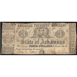 1864 $3 State of Arkansas Treasury Warrant Note
