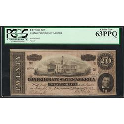 1864 $20 Confederate States of America Note T-67 PCGS Choice New 63PPQ