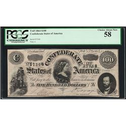 1864 $100 Confederate States of America Note T-65 PCGS Choice About New 58