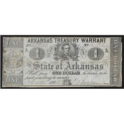 1862 $1 State of Arkansas Treasury Warrant Note
