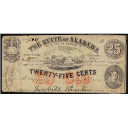 1863 Twenty-Five Cents State of Alabama Confederate Note