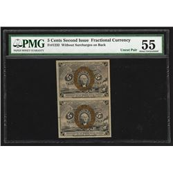 Uncut Pair of 1863 Five Cents Second Issue Fractional Notes PMG About Uncirculat