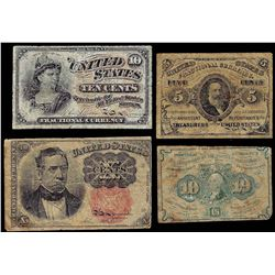 Lot of (4) Fractional Currency Notes
