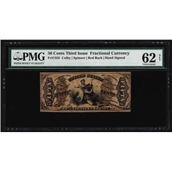 March 3, 1863 Fifty Cents Third Issue Fractional Note PMG Uncirculated 62 Net
