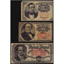 Lot of (3) Assorted Fifth Issue Fractional Currency Notes