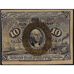 March 3, 1863 Ten Cent Second Issue Fractional