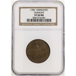 1785 Vermont Colonial Copper Coin NGC VF30BN