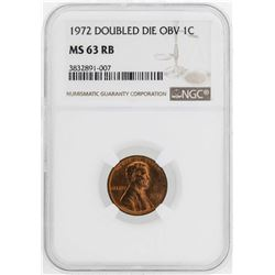 1972 Doubled Die Obverse Lincoln Wheat Cent Coin NGC MS63RB