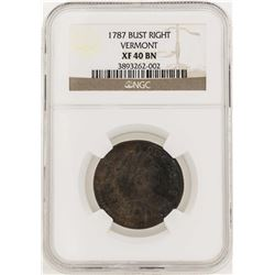 1787 Bust Right Vermont Colonial Copper Coin NGC XF40BN