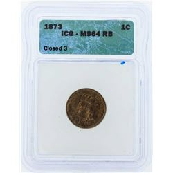 1873 Indian Head Penny Coin ICG MS64RB Closed 3