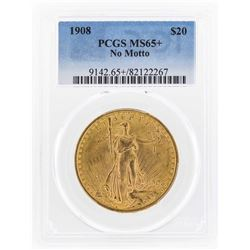 1908 NM $20 St. Gaudens Double Eagle Gold Coin PCGS MS65+
