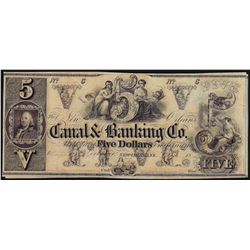 1800's $5 Canal & Banking Co. Obsolete Note