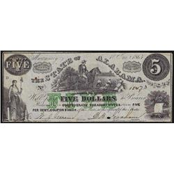 1864 $5 State of Alabama Obsolete Bank Note