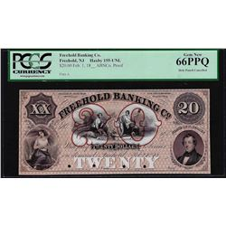 1800's $20 Freehold Banking Co. Proof Obsolete Note PCGS Gem New 66PPQ Hole Punc