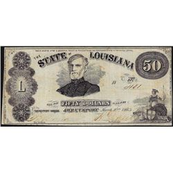 1863 $50 The State of Louisiana Obsolete Bank Note