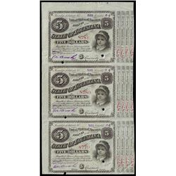 Uncut Sheet of (3) 1874 State of Louisiana Baby Bond Obsolete Notes
