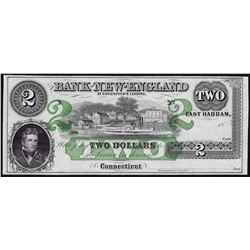 1800's $2 Bank of New England Godspeed's Landing Obsolete Note