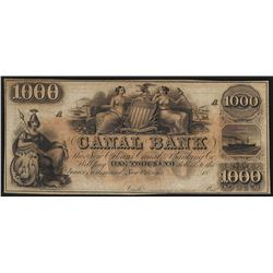 1800's $1000 Canal Bank of New Orleans Obsolete Bank Note