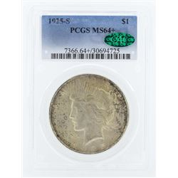 1925-S $1 Peace Silver Dollar Coin PCGS MS64+ CAC