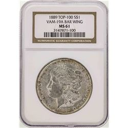 1889 $1 Morgan Silver Dollar Coin VAM-19A BAR Wing NGC MS61