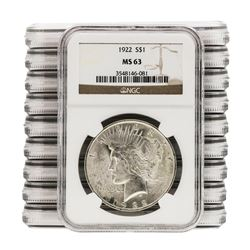 Lot of (10) 1922 $1 Peace Silver Dollar Coins NGC MS63