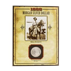 1888 $1 Morgan Silver Dollar Coin with Bill Pickett Stamp