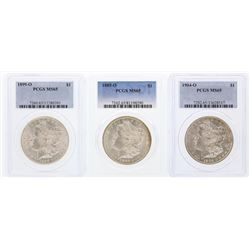 Set of (3) New Orleans Mint $1 Morgan Silver Dollar Coins PCGS MS65