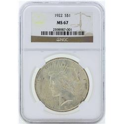 1922 $1 Peace Silver Dollar Coin NGC MS67