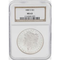1880-S $1 Morgan Silver Dollar Coin NGC MS63