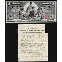1896 $2 Educational Silver Certificate Note with Personal Letter