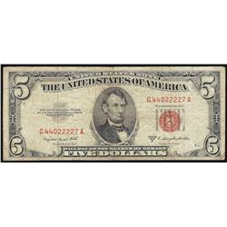 1953B $5 Legal Tender Note Fancy Serial Number