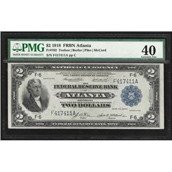 1918 $2 Battleship Federal Reserve Bank Note Atlanta PMG Extremely Fine 40