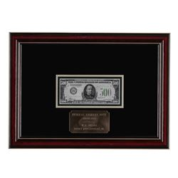 Framed 1934 $500 Federal Reserve Note New York
