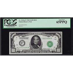 1928 $1000 Federal Reserve Note Atlanta PCGS Gem New 65PPQ