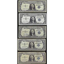 Lot of (5) 1935 & 1957 $1 Silver Certificate STAR Notes