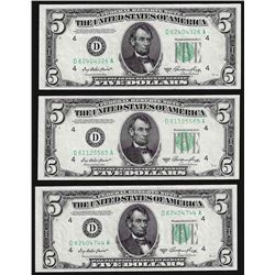 Lot of (3) 1950A $5 Federal Reserve Notes Choice Uncirculated