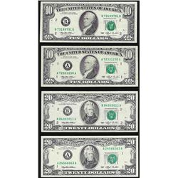 Lot of (2) 1993 $20 & (2) $10 Federal Reserve Notes