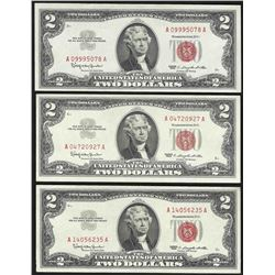 Lot of (3) 1963 $2 Legal Tender Notes