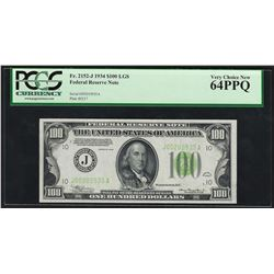 1934 $100 Federal Reserve Note Light Green Seal PCGS Very Choice New 64PPQ