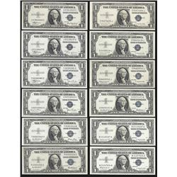 Set of 12 Different 1935A-1957B $1 Silver Certificate Notes Uncirculated