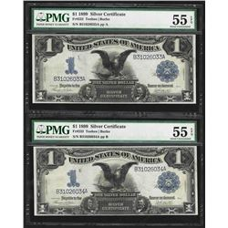 Lot of (2) Consecutive 1899 $1 Black Eagle Silver Certificate Notes PMG AU55EPQ