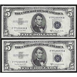 Lot of (2) 1953B $5 Silver Certificate Notes Uncirculated