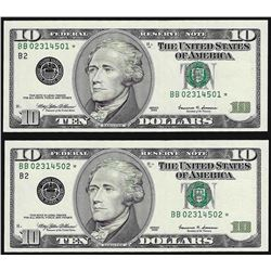 Lot of (2) 1999 $10 Federal Reserve STAR Notes