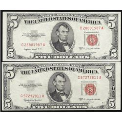 Lot of (2) 1953 $5 Legal Tender Notes